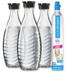 Bild zu SodaStream Reservezylinder und 3 Glaskaraffen für 39,99€ (VG: 44,95€)
