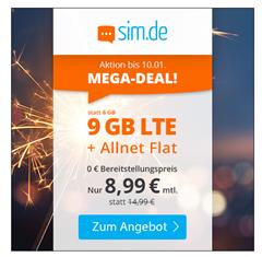 Bild zu [Top] o2 Tarif mit einer 9GB LTE Datenflat, SMS und Sprachflat für 8,99€/Monat – jederzeit kündbar (Frist 3 Monate)
