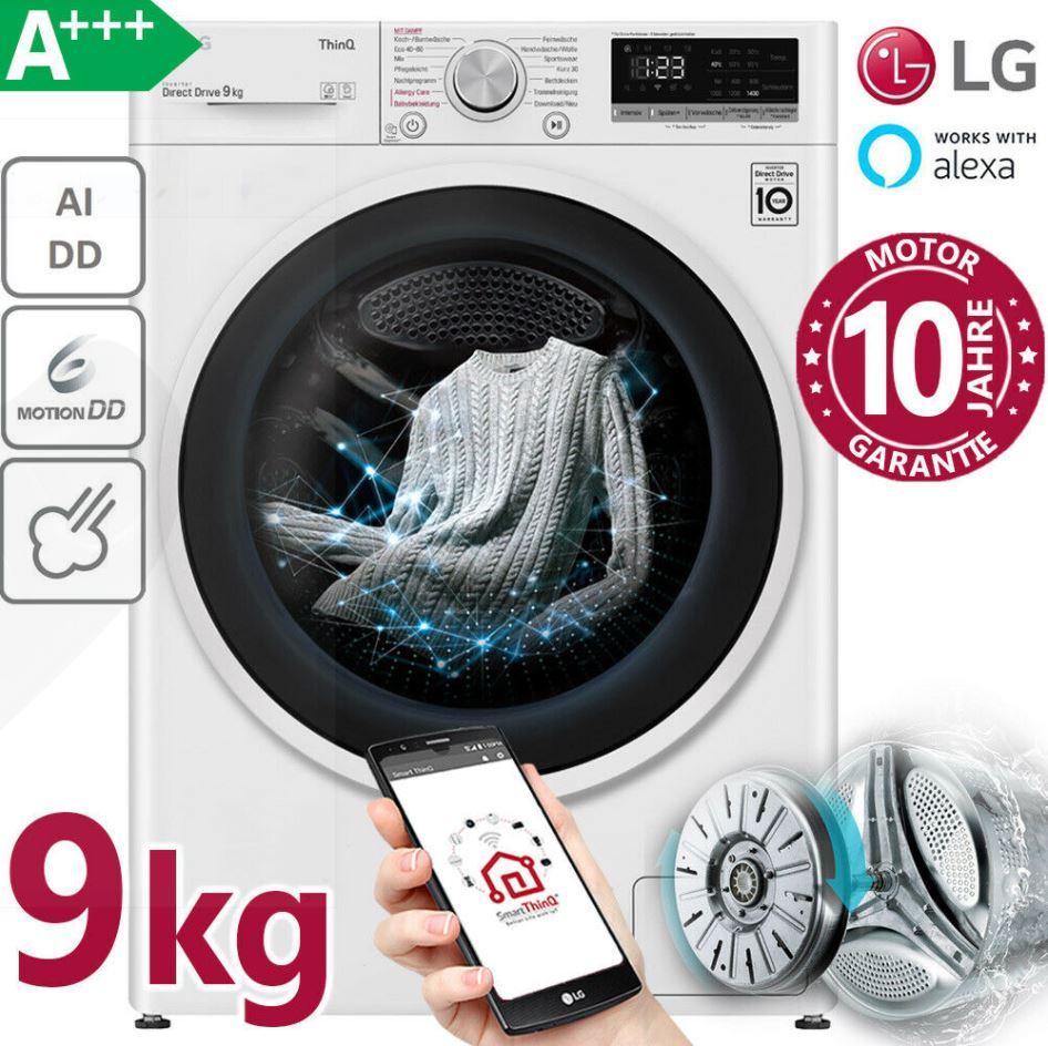 Bild zu LG A+++ Waschmaschine 9kg Frontlader 1400U/min Dampf Inverter Direktantrieb Wifi für 359,99€ (VG: 449€)
