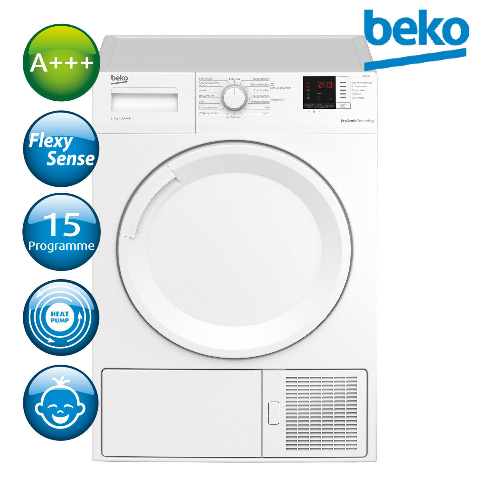 Bild zu 7kg Wärmepumpentrockner Beko DS7512PA für 369,90€ (Vergleich: 433,89€)
