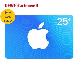 Bild zu [nur heute und morgen] REWE: 15% Extra-Guthaben beim Kauf von iTunes und AppStore Guthaben