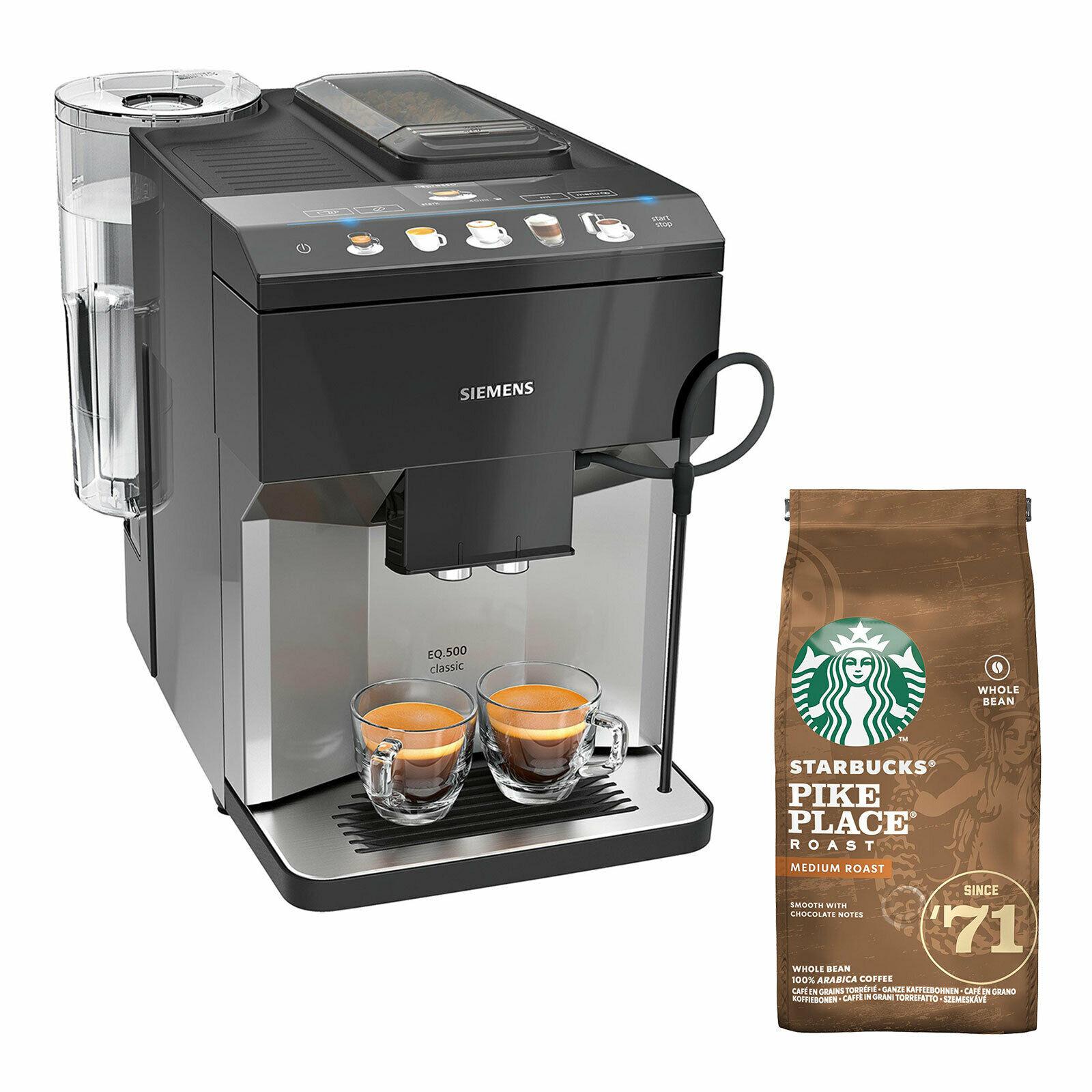 Bild zu Kaffeevollautomat Siemens TP503D04 EQ.500 Classic und 200 Gramm Starbucks Ganze Bohne Pike Place Roast für 449,91€ (Vergleich: 487,25€)