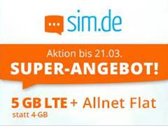 Bild zu Sim.de: o2-Netz mit 4GB – LTE Datenflat, SMS und Sprachflat für 5,99€/Monat – optional ohne Mindestvertragslaufzeit