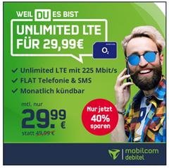 Bild zu [endet heute] Allnet Flat, SMS Flat und unbegrenzte Datenflat (bis 225 Mbit) im o2 Netz für 29,99€/Monat – monatlich kündbar