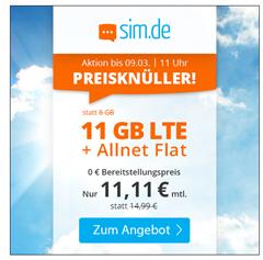 Bild zu o2 Tarif mit einer 11GB LTE Datenflat, SMS und Sprachflat für 11,11€/Monat