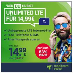 Bild zu [Top – endet um 17 Uhr] o2 Unlimited LTE Datenflat (bis 10Mbit/s) inkl. Sprach–und SMS Flatrate für 14,99€/Monat