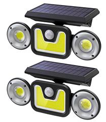 Bild zu 2 x Solarlampen für Außen mit Bewegungsmelder (2.400mAh Akku, 450 Lumen) für 22,99€