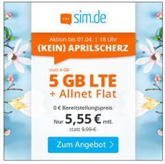Bild zu Sim.de: o2-Netz mit 5GB LTE Datenflat, SMS und Sprachflat für 5,55€/Monat – optional ohne Mindestvertragslaufzeit