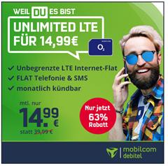 Bild zu [heute bis 18 Uhr] unbegrenzte Datenflat (bis 10Mbit/s) inklusive SMS und Sprachflat von o2 für 14,99€ im Monat – monatlich kündbar