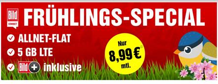 Bild zu o2 Tarif mit 5GB LTE Datenflat, SMS und Sprachflat inkl. Bild+ für 8,99€ im Monat