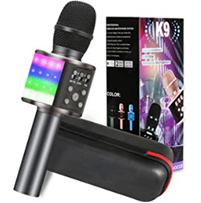 Bild zu GLIME 5-in-1 Bluetooth Karaoke Mikrofon mit LEDs (Kompatibel mit Android/IOS/PC) für 18,12€