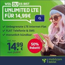 Bild zu Telefonflat, SMS und LTE Datenflat (unlimitiert – auf 2Mbit/s begrenzt) im o2 Netz für 14,99€/Monat – monatlich kündbar