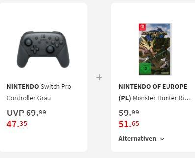 Bild zu Nintendo Switch Pro Controller + Monster Hunter Rise für 90,01€ (VG: 107,93€)