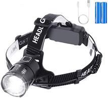 Bild zu OUTERDO Stirnlampe mit 3500 Lumen und 2 per USB aufladbaren Batterien (6400mAh) für 12,52€