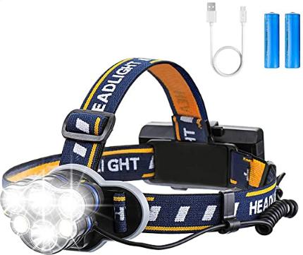 Bild zu OUTERDO Stirnlampe mit 6 LED und 8 Modi, mit 2 per USB aufladbaren Batterien für 12,34€