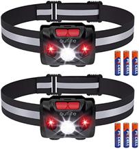 outlite 2 Stück LED Stirnlampe Taschenlampe mit AAA-Batterie, Reflektierende Streifen Stirnlampe mit [...]