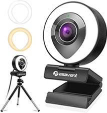 Pasavant 1080P Webcam with Microphone, Ring Light and Amazon de Camera Photo