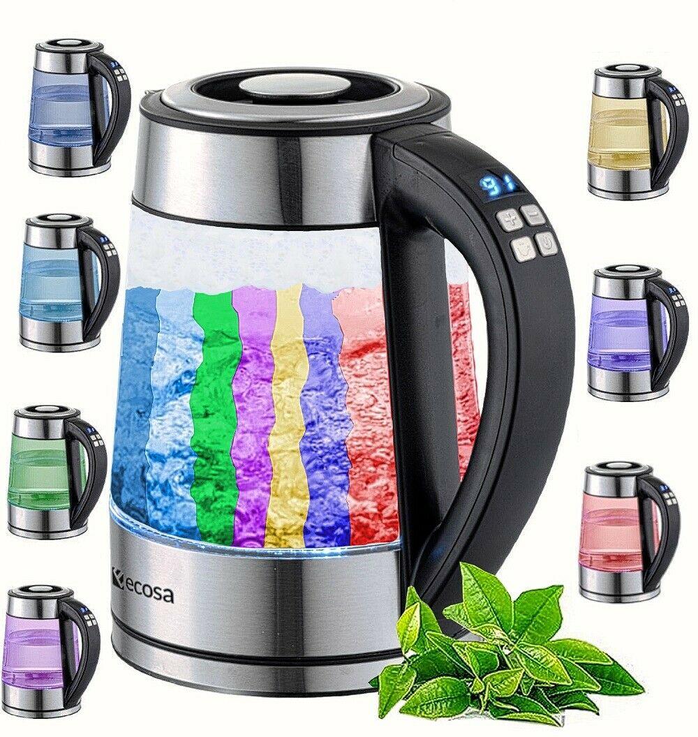 Bild zu Edelstahl Glas Wasserkocher mit Temperaturwahl und LED-Beleuchtung für 23,16€ (Vergleich: 29,90€)