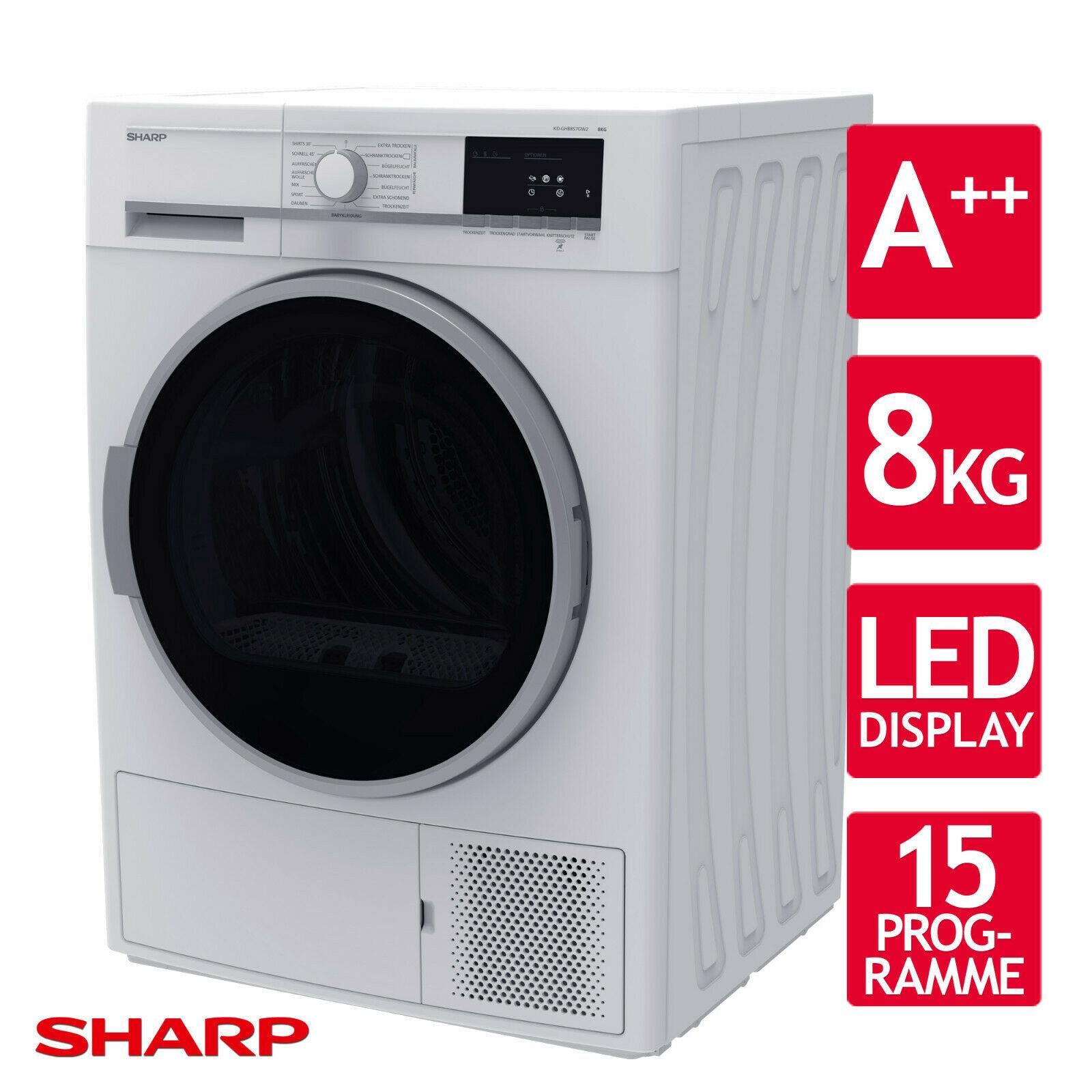 Bild zu 8 kg Wärmepumpentrockner Sharp KD-GHB8S7GW2 (A++) für 359,90€ (Vergleich: 399€)