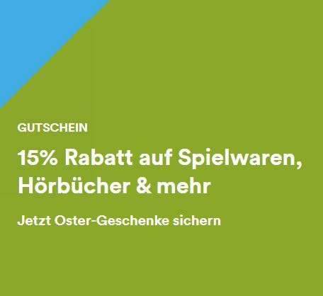 Bild zu Thalia: Osteraktion mit 15% Rabatt auf viele Spielwaren, Filme, Software, Schreibwaren, Hörbücher und Hörbuch-Downloads uvm.