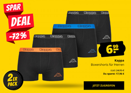 Bild zu SportSpar: 18er-Pack Kappa Herren Boxershorts für 57,91€ inkl. Versand (Vergleich: 113,85€)