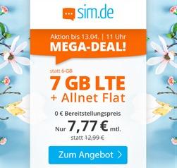 Bild zu Sim.de: o2-Netz mit 7GB – LTE Datenflat, SMS und Sprachflat für 7,77€/Monat – optional ohne Mindestvertragslaufzeit