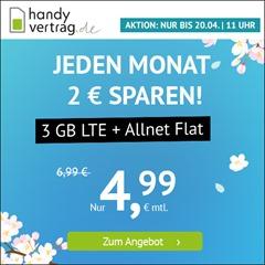 Bild zu [endet morgen um 11 Uhr] Handyvertrag.de: 3GB (1GB + 2GB Aktion) LTE Datenflat + Allnet Flat im o2 Netz für 4,99€/Monat