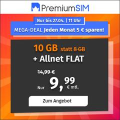 Bild zu PremiumSIM monatlich kündbaren Vertrag im o2-Netz mit 10 GB LTE Datenflat, SMS und Sprachflat für 9,99€/Monat