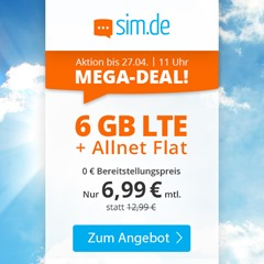 Bild zu o2 Tarif mit einer 6GB LTE Datenflat, SMS und Sprachflat für 6,99€/Monat
