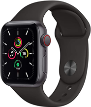 Apple Watch Se (GPS   Cellular, 40 mm) Boîtier en Aluminium Gris sidéral, Bracelet Sport Noir Amazon fr