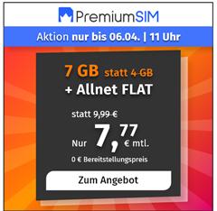 Bild zu o2 Tarif mit einer 7GB LTE Datenflat, SMS und Sprachflat für 7,77€/Monat–optional monatlich kündbar