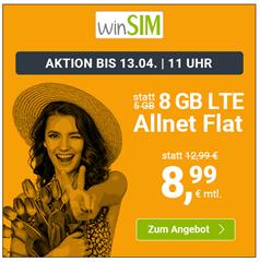 Bild zu WinSIM: 8GB LTE Datenflat + Allnet Flat im o2 Netz für 8,99€/Monat – optional monatlich kündbar