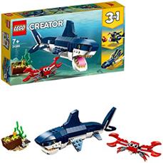 Lego 31088 Creator Bewohner der Tiefsee, 3-in-1 Set mit Hai, Krabbe und Schatztruhe, Spielzeuge für K[...]