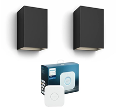 Philips Hue Outdoor Resonate Wandleuchte - Schwarz 2er Pack Bridge