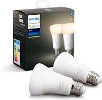Philips Hue White Smart Bulb Twin Pack LED [E27 Edison Screw] with Bluetooth Works with Alexa and Goo[...]