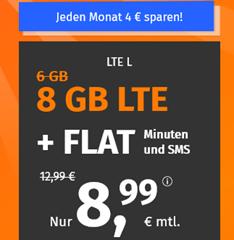 Bild zu PremiumSIM monatlich kündbaren Vertrag im o2-Netz mit 8GB LTE Datenflat, SMS und Sprachflat für 8,99€/Monat