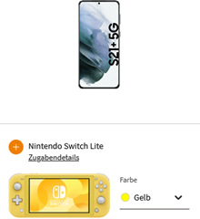 Bild zu Samsung Galaxy S21+ 5G inkl. Nintendo Switch Lite für zusammen 99€ mit o2 Free L (60GB 5G/LTE Datenflat, SMS und Sprachflat) für 39,99€/Monat