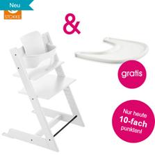 STOKKE® Tripp Trapp® Hochstuhl inkl Baby Set Buche weiß Gratis Tray weiß - babymarkt de