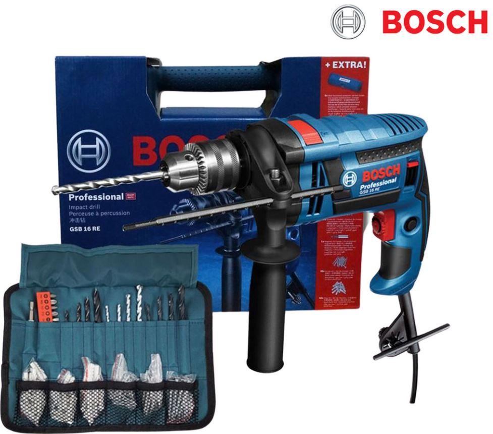 Bild zu Bosch Professional GSB 16 RE Schlagbohrmaschine für 85,90€ (VG: 113,73€) + Gürtel + Zubehör (Bohrer, Dübel) gratis