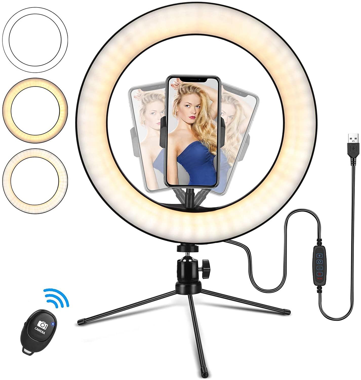 Bild zu 10 Zoll LED-Ringlicht mit Stativ und Fernauslöser für 6,99€