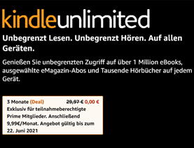 Bild zu Amazon Prime Kunden: Kindle unlimited 3 Monate kostenlos