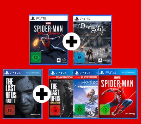 Bild zu [nur heute] Spiele-Bundles für PlayStation 4 oder 5 – z.B. Spider-Man Miles Morales + Demon´s Souls für 69,99€ (VG: 91,97€)