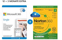 Bild zu Microsoft 365 Single + NORTON 360 Standard (beides 15 Monate) für 44,99€ (VG: 51,42€)