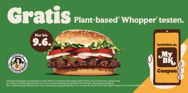 Bild zu Burger King: Kostenloser Plant-Based Whopper dank App-Coupon