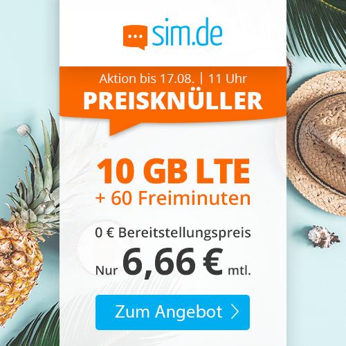 Bild zu Sim.de: 10 GB LTE Datenflat und 60 Freiminuten im o2 Netz für 6,66€/Monat – jederzeit kündbar (Frist 3 Monate)