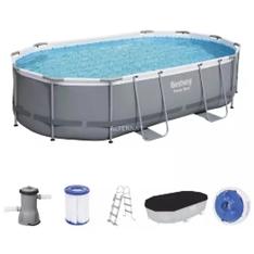 Bestway Power Steel Frame Pool Set, 488cm x 305cm x 107cm, Schwimmbad grau blau, mit Filt[...]