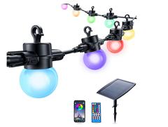 Bild zu Elrigs Solar Lichterkette Farbwechsel, dimmbare G45 LED Lampe (12 Lampen) mit App-Steuerung für 35,99€