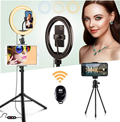 LED Ringlicht Stativ mit Fernbedienung,Mini Stativ joyroom 10 26 Selfie Ringleuchte Handy[...] (2)