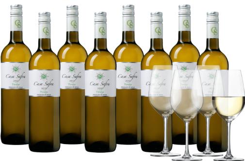 Bild zu Weinvorteil: 8 Flaschen Casa Safra Verdejo Weißwein + 4 Schott Zwiesel Weingläser für 44,99€