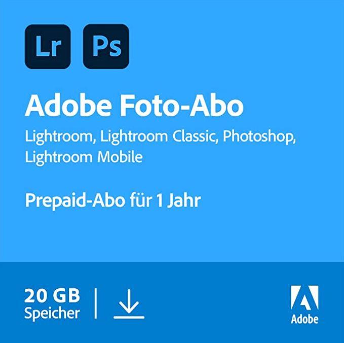 Bild zu 1 Jahr Adobe Creative Cloud Fotografie (Photoshop CC + Lightroom) mit 20GB Cloud für 90,92€ (VG: 109,90€)